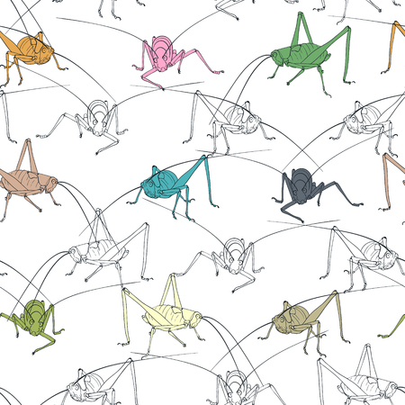 Colorful grasshopper seamless background. Illustration