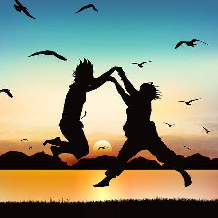 Happy girls are jumping, on silhouette art. Vector Illustratie