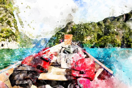 Boat rafting in the dam, with watercolor art. Illustration