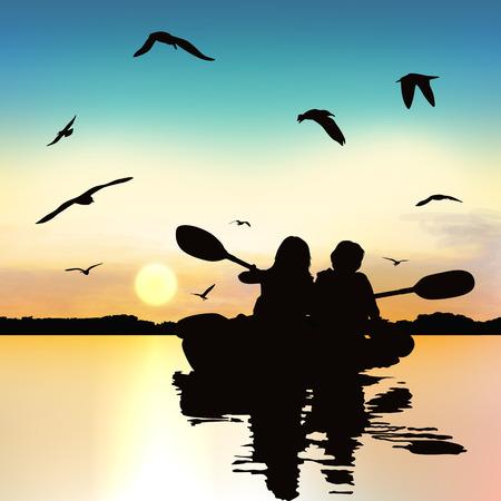 Silhouette of funny girls kayaking.