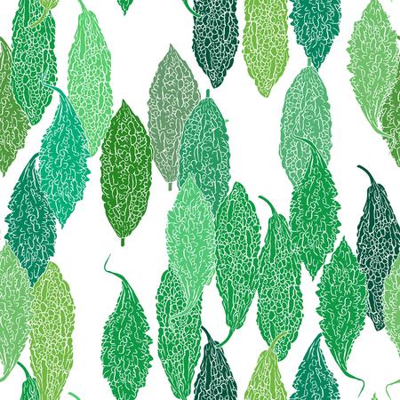 Green bitter gourd seamless background. Illustration