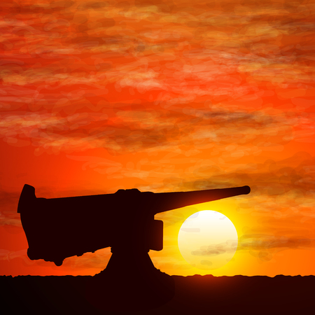 Silhouette of gun, the symbolize of the war.