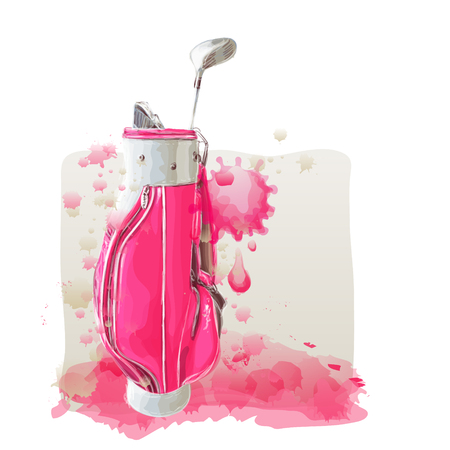 Pink golf back on watercolor painting in vector art.