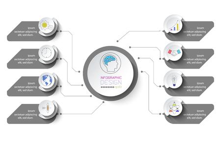 Infografica aziendale con 8 passaggi.