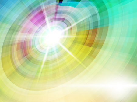 Bright light abstract on green tone background. Illustration
