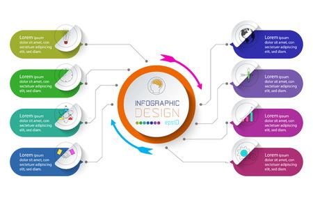 Geschäftsinfografik mit 8 Schritten. Vektorgrafik