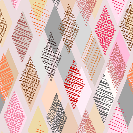 Kleur doodle in ruitvorm met naadloze achtergrond.
