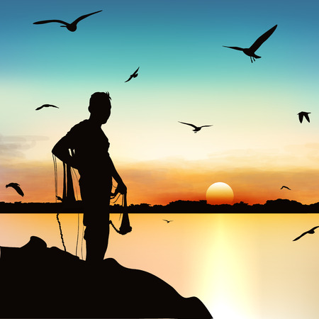 Silhouette of man waiting to catch the fish in twilight.
