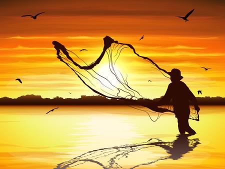 Silueta de hombre atrapando peces en el crepúsculo.