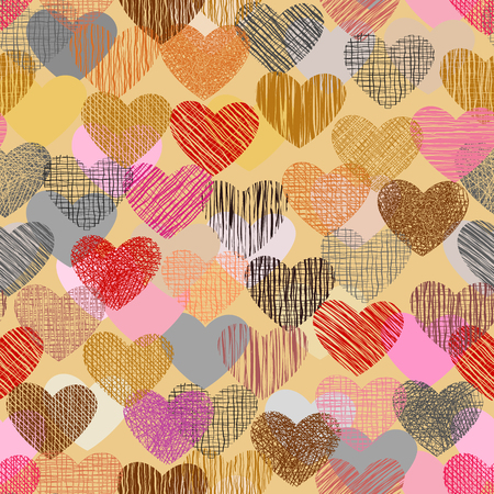 Color doodle in heart shape with seamless background.