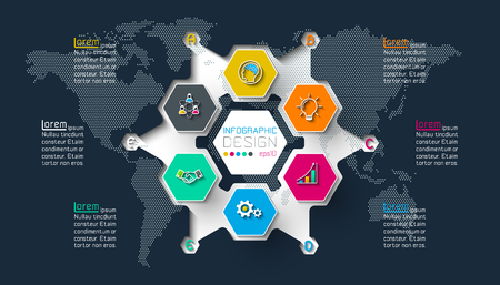 Business hexagon labels shape infographic on circle.