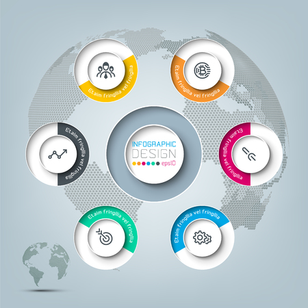 Six circles with business icon infographics.