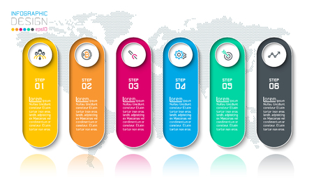 Bar labels infographic with 6 steps.