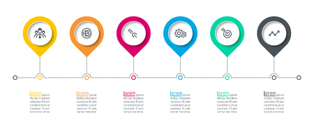 Circle label infographic with 6 steps.