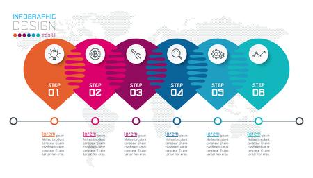Six harmonious circle infographics.