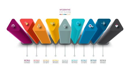 Vector Infographic label design with triangle columns design.  Illusztráció