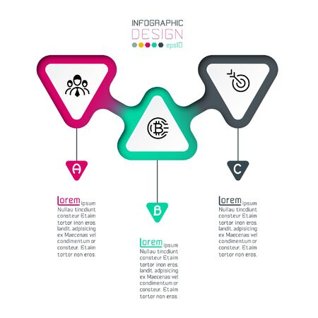 Triangles label infographic with step by steps. Illusztráció