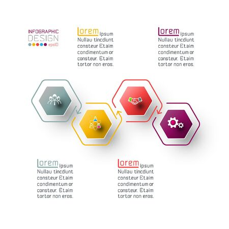 Hexagon inforgraphics on vector graphic art. Illusztráció