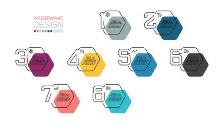 Black line minimal Infographic design on hexagon shape.