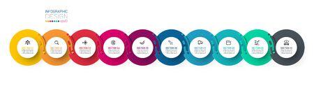 Ten harmonious circle infographics.