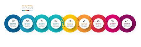 Nine harmonious circle infographics.