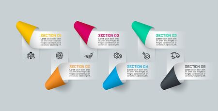 Vector Infographics paper ribbon labels, infographic options processes.