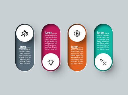 Vector Infographic 3d long circle label, infographic with number 4 options processes. Illusztráció