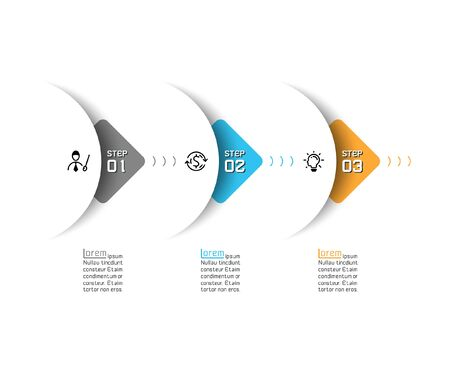 Halbkreispfeil auf horizontalen Infografiken entwerfen Vektorgrafiken.