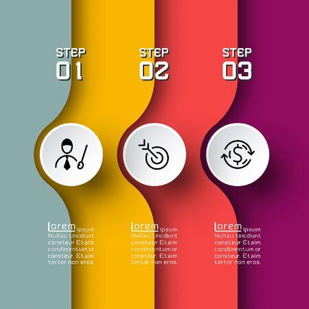 Semicircle arrow on horizontal infographics design vector graphic art. Illusztráció