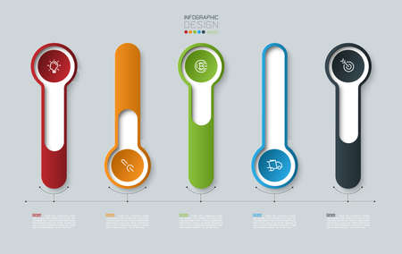Vector Infographic 3d long circle label, infographic with number 5 options processes.