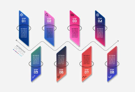 Vertical square shape design  8 steps to present and analyze processes. vector infographic. 向量圖像