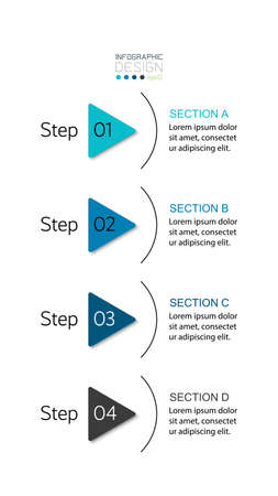 The 4 steps represent the work and describe the processes such as company or business. infographic design.
