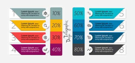 Square shape design the process of presenting the work with a percentage as the result. vector infographic.