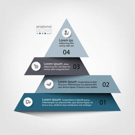 Describing a process or showing the results in a pyramid schematic diagram. vector infographic design. 向量圖像