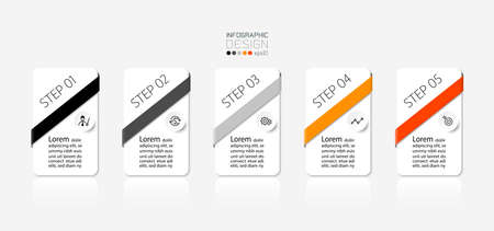 5 steps of rectangular design able to explain and report various results. infographic design.