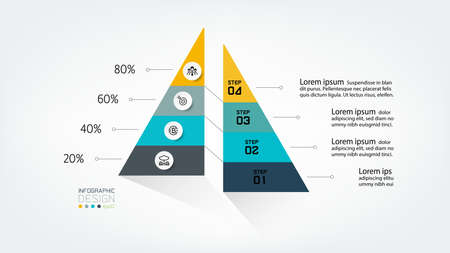 Presentation of work or showing results of analysis and study  With the form of a pyramid and a percentage. infographic design.