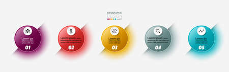 Color light of the design circle  5 steps to explain the processes of work, business, marketing or make brochures. vector infographic design.