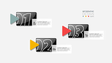 3 Text boxes in square format used to describe and present a plan or event planning. vector illustration design.