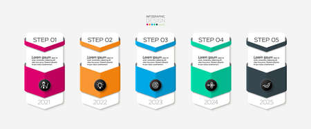 The five-step bar can present information and explain the workflow of new ideas in communication and advertising. vector infographic.