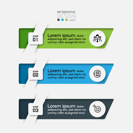 The new design of square shape  3 work procedures explained and presentations. vector infographic.