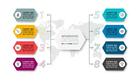 Presentations 8 steps by hexagon design describe the work through the organization. infographic design.