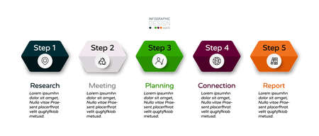 5 hexagonal steps for presenting work and explaining planning for company business. infographic design.