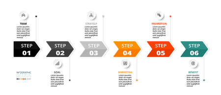 Describe the process through the label of the arrow, the timeline, use it for planning work, etc. infographic desing.