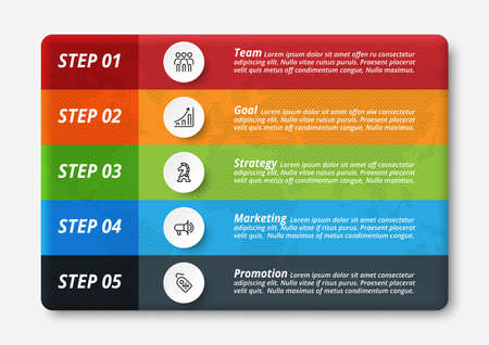 Business infographic template with step or option.