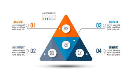 Pyramid business work flow infographic template. 版權商用圖片 - 167142217