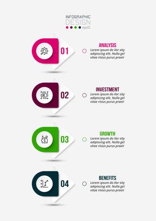 4 step process work flow infographic template. 版權商用圖片 - 167142254