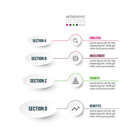 4 step process work flow infographic template. 向量圖像
