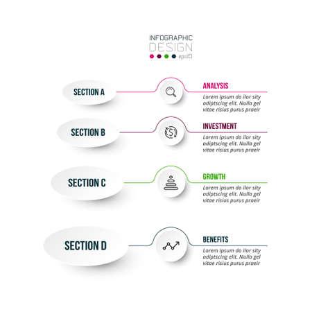 4 step process work flow infographic template. 版權商用圖片 - 167142275