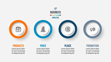 4P analysis business or marketing  infographic template. 向量圖像