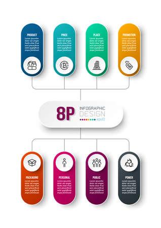 8P analysis business or marketing  infographic template. 版權商用圖片 - 167801913